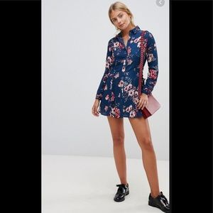 QED London lattice tie side floral shirt dress